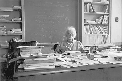 Einstein at his desk, Princeton, New Jersey, circa 1955